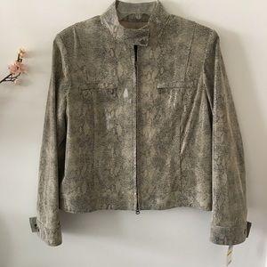 Alfani Genuine Leather Moto Jacket Size Medium